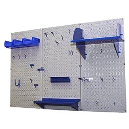 Wall Control 30-WRK-400 GBU Pegboard Organizer 4\' Metal Standard Tool Storage Kit with Gray Tool Board and Blue Accessories