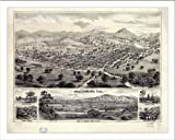 Historic Healdsburg, California, c. 1876 (M) Panoramic Map Poster Print Reprint Giclee