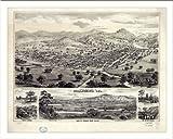 Historic Healdsburg, California, c. 1876 (M) Panoramic Map Poster Print Reprint Giclee