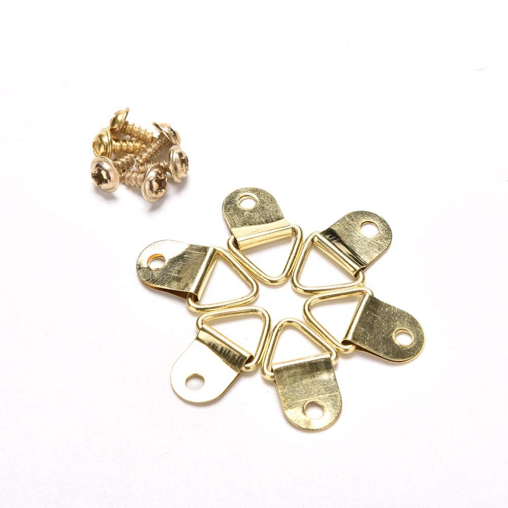 100pcs Mini Goldens Triangle D-Rings Pictures Photo Frame Hooks Hanger DP