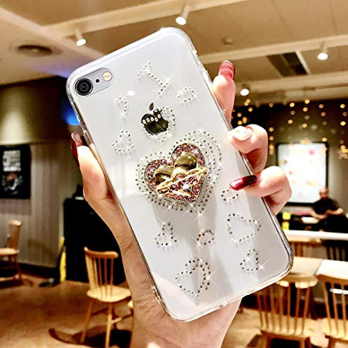 Price comparison product image ikasus Case for iPhone 6S Plus / 6 Plus, Glitter Bling Diamond Soft TPU Rubber Gel Crystal Clear Slim Case Cover with Rhinestone Kickstand Protective Case Cover for iPhone 6S Plus Diamond Case, Love