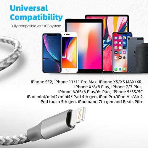 iPhone Charger Cable, Bkayp MFi Certified 3Pack 10FT Nylon Braided Lightning Cable Fast Charging Syncing Long Cord Compatible iPhone 12/Max/11Pro/11/XS/Max/XR/X/8/8P/7 and More - 2021 Upgrade