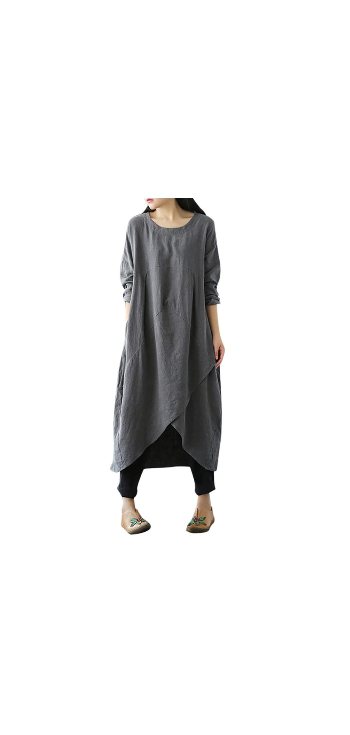Woman Liene Vintage Long Sleeve Tunic Baggy Long Maxi Plus