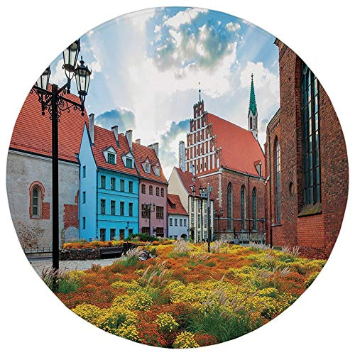 (Round Rug Mat Carpet,Victorian Decor,Old City Riga Latvia Capital with Historical Buildings Medieval Town Image Decorative,Multicolor,Flannel Microfiber Non-slip Soft Absorbent,for Kitchen Floor Bathr)