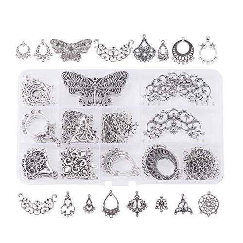 Jewelry Pendant Charm Boxes Silver (Pandahall Elite 90 PCS 15-Style Antique Silver Tibetan Earring Chandelier Earring Jewelry Making Kit for Earring Drop and Charm Pendant in Storage Box)