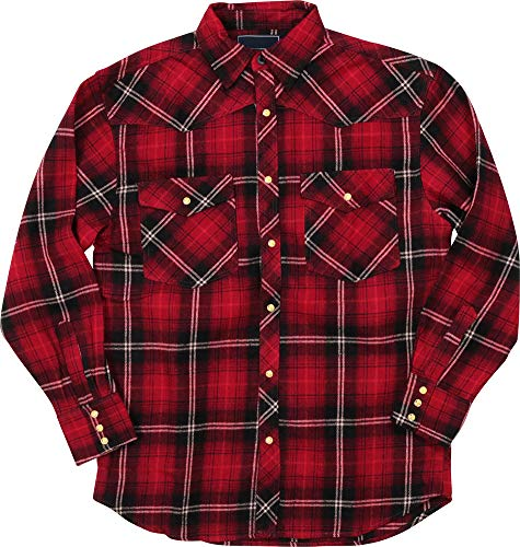 Woodland Supply Co. Men's Western Cowboy Flannel Plaid Check Long Sleeve Button Down Shirt (X-Large, Cherry)