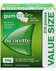 Nicorette Nicotine Gum, Quit Smoking and Smoking Cessation Aid, Ultra Fresh Mint, 2mg, 210 pieces