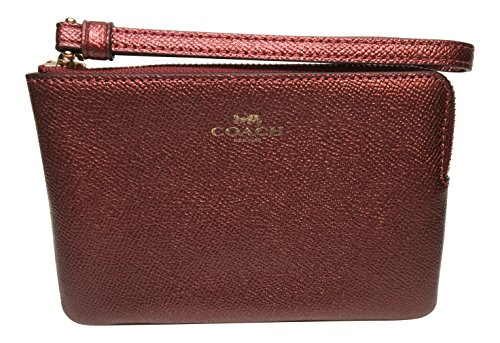 Coach Crossgrain Corner Zip Wristlet Metallic Cherry F21070 (Metallic Cherry)