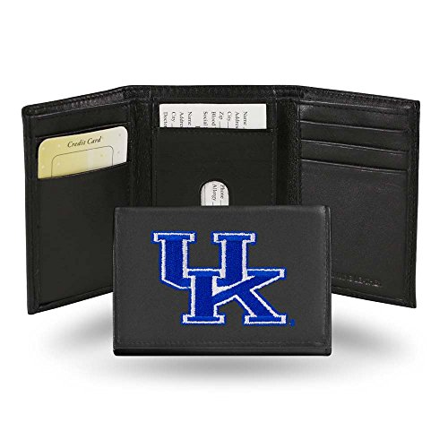 Wildcats Embroidered Tri Fold - Rico Kentucky Wildcats Embroidered Leather Tri-Fold Wallet