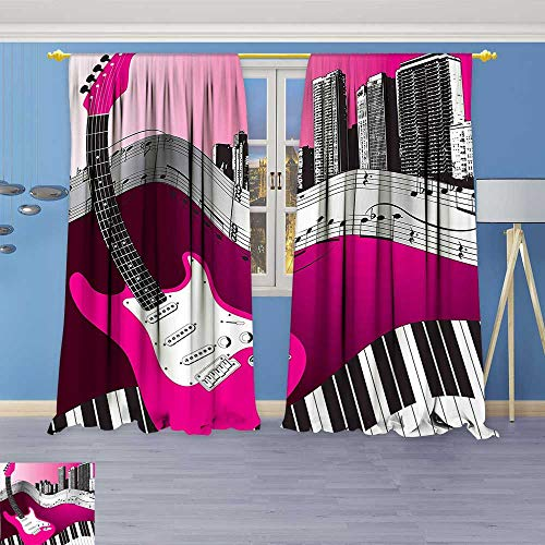 Art Curtains Collection,Guitar Keyboard Urban Rock Backdrop Rhythm of City Illustration Hot Pink Light Grey Window Curtain Set of 2 Panels, Living (Guitar Triple Deck)