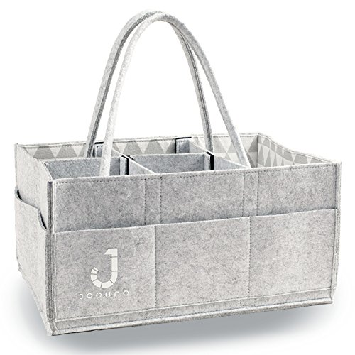 Baby Diaper Caddy Nursery Storage Bin By JOOUNO - Stylish Boys-Girls Changing Table Organizer Basket - Removable Handles - Large Portable Car Travel Bag - Baby Registry Must Haves - Baby Shower Gift (Where To Buy Gift Baskets)