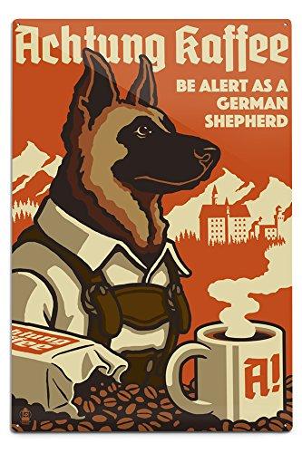 - Lantern Press German Shepherd - Retro Coffee Ad (12x18 Aluminum Wall Sign, Wall Decor Ready to Hang)