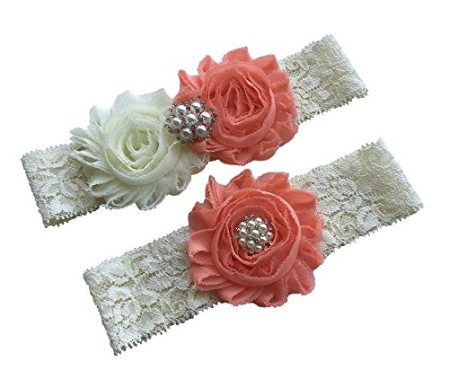 - Daddasprincess Wedding Garter Ivory Bridal Lace Garter Set Something Blue Keepsake Toss Away Plus Size Belt Prom (S: 14-18 inches, peach)