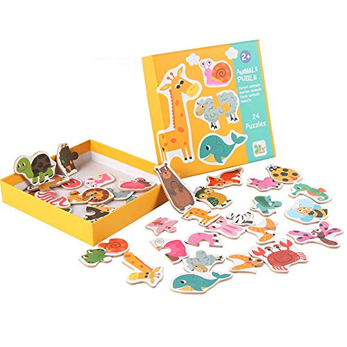 Amaping Wooden Puzzle Jigsaw Sets for Children Age 1-5 Preschool Puzzles Intelligence Development Educational Puzzle Jigsaw Present Baby Kids Cognition Training Toy (Animals) ()