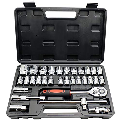 32pc 1/2 inch drive ratcheting socket wrench set 72 teeth