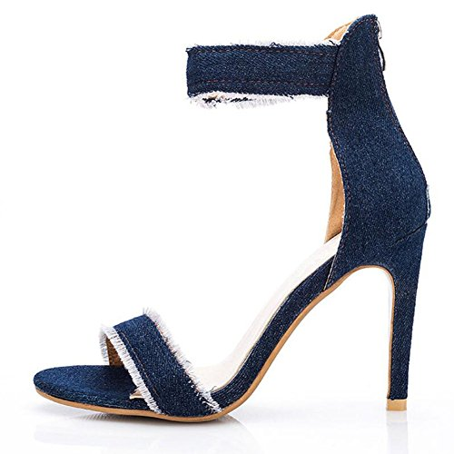 Zapatos de tacón alto para mujeres Summer New Tassels Sandalias de moda finas con cómodos zapatos de mezclilla para mujer GAOLIXIA Dark blue