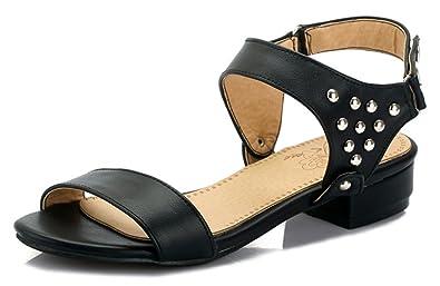7d6b326503b Aisun Women s Open Toe Sandals Studs - Low Heel Hook Loop - Comfort Casual Ankle  Strap