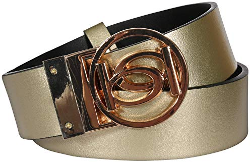 'Bebe Women\'s Reversible Belt with Logo Buckle, Gold/Black, Size Large'