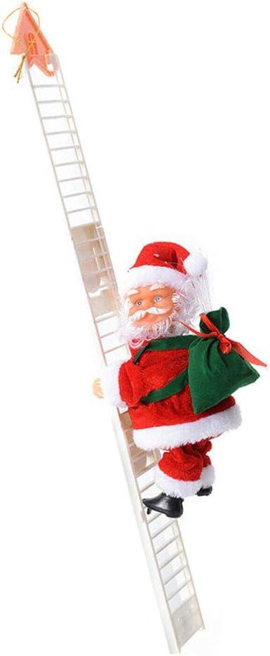 Herewegoo Santa Claus Ornamento Cantando Eléctrico Escalera Escalada Santa Claus Juguete para Decoración de Navidad: Amazon.es: Hogar