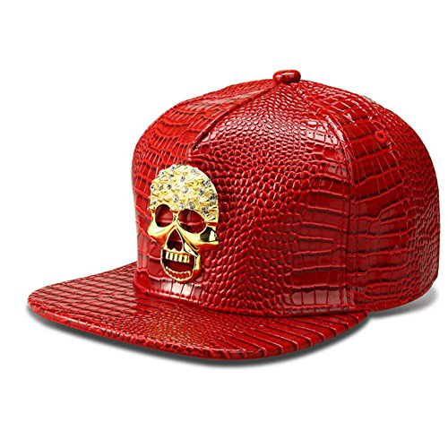 (LEEYA NYU13 The New Crocodile Baseball caps Skull Tide brand flat-brimmed hats hip-hop hat (Red))