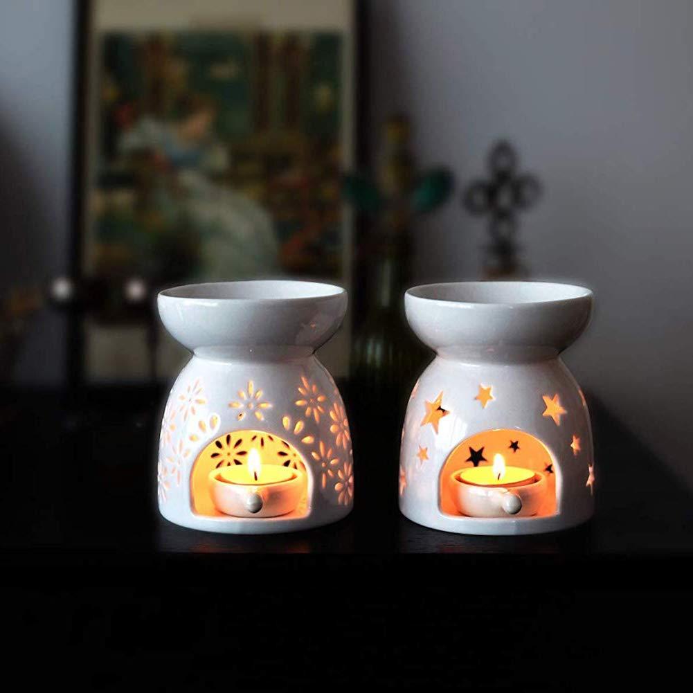 stelle + fiori Bruciatori per oli essenziali Queta 2 pezzi Bruciatori in ceramica di oli essenziali con candeliere per decorazione natalizia Yoga Relax SPA