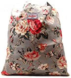 Cath Kidston Cotton Book/Tote Bag 'Garden Rose' in Grey