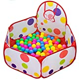 Yo&yo Durable Six Sided Hexagon Polka Dot Children Ball Play Pool Play Tent with Basketball Hoop and Carrying Case Package (1.2m)