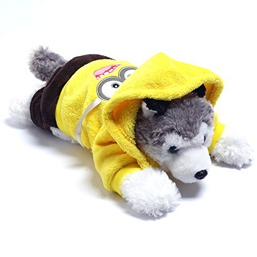 Wayson Pet Clothes Costumes with Cute Yellow Minion Jerry Pattern,Soft Little Hoodie Clothes for Cat/Dog (Size (Minion Dog Costumes)