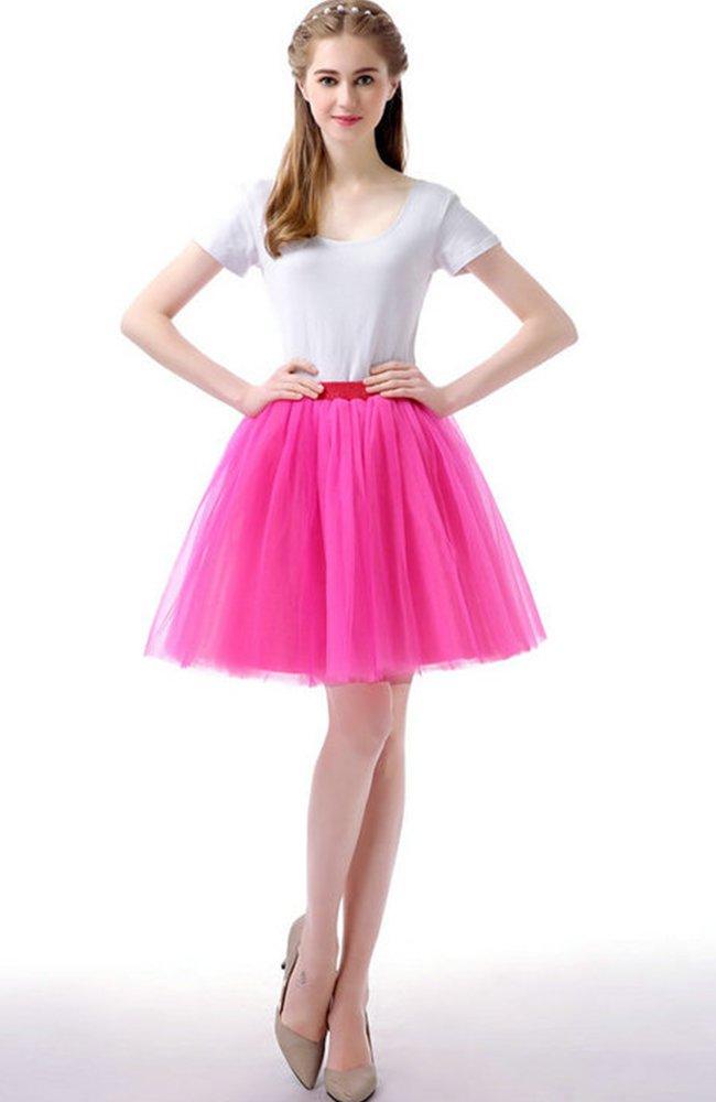 Sheicon Women Lace Ballet Tutu Princess Dress Dance Skirt for Adult Color Rose Size OneSize