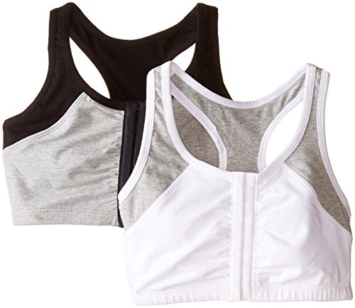 Fruit of the Loom Women's Front Close Racerback , White Grey/Black Grey, 38(Pack of 2)