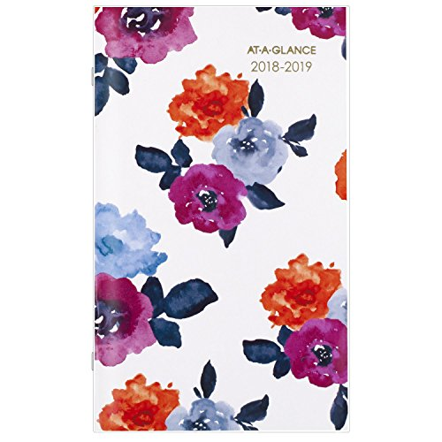 "AT-A-GLANCE Monthly Pocket Planner, January 2018 - January 2020, 3-5/8"" x 6-1/16"", Eva (1044-021)"