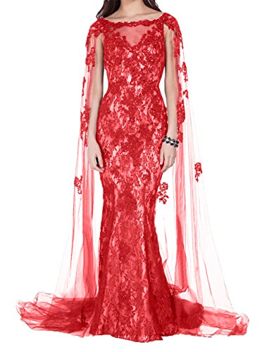Promkleider Charmant Abendkleider Meerjungfrau Damen Partykleider Abschlussballkleider Rot Hochwertig Spitze Still YSYwtrq