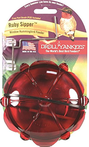 Droll Yankees Hummingbird Feeder for Window, Window Mounted Outdoor Feeder, 5 Oz., 3 Feeding Perches, Suction Cup Attached, RS-3WL, (Droll Yankees Hummingbird Feeder)