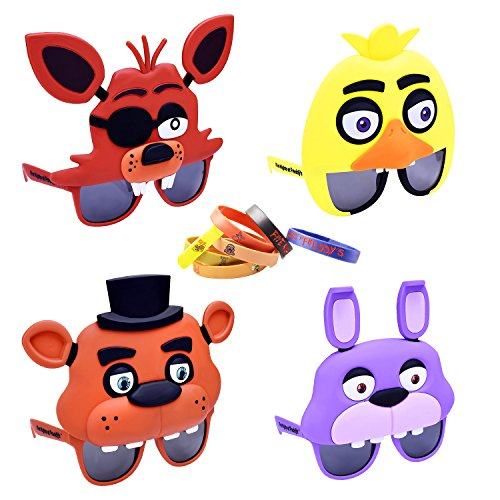 FNAF 3 Five Nights at Freddy's Party Sunglasses and Bracelet Pack - Foxy the Priate Chica Freddy Fazbear Bonnie Decorations Goody Loot Candy Filler (Three Guys Halloween Costumes)