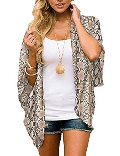 erholi Women Casual Raglan Sleeve Chiffon Print Loose Open Stitch Beach Bikini Cover-up Shirt -