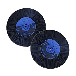 Sale! Blue Vintage Record Coasters - Set of 2 - Retro Vinyl Design for Home Furnishings - High Quality, Good Grip & Value - Best Match to Fine Furniture/cup/mug/bar/beer/drinks - Unique Office & Kitchen Decoration - 100% Satisfaction Guarantee!