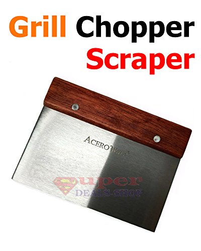 AceroWare Stainless Steel Scraper Chopper BBQ Scraping Blade Turning & Transporting Barbecue Tool Dough Scraper Baking Pastry Shape & Slice Griddle Teppanyaki Grill Chef Device Super-Deals-Shop