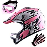 WOW Youth Motocross Helmet BMX MX ATV Dirt Bike Helmet Matt Star Pink + Goggles + Skeleton Pink Glove Bundle