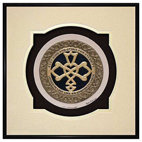 - Celtic Wedding Knot - Framed Handmade Cast Paper - Irish Scottish Wedding Blessing Gift