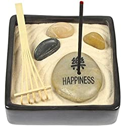 HAPPINESS Sandalwood Incense Zen Garden, Everything Needed to Create Your Own Ceramic Incense Zen Garden, Relieve Stress and Relax!
