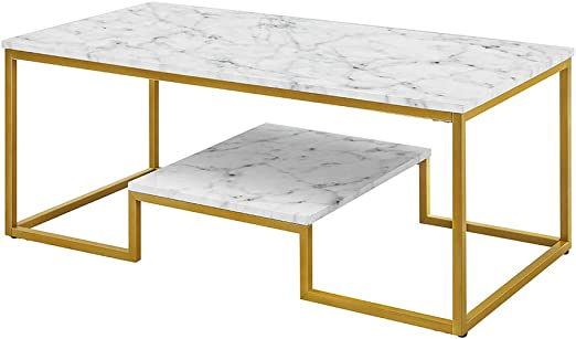 Amazon Com Rosen Garden Faux Marble Coffee Table With Metal Frame