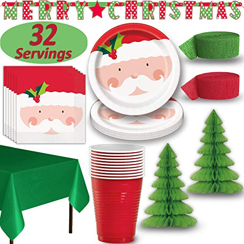 Christmas Party Tableware & Decorations - 32 Guests - Santa Dinner Plates and Napkins, Red Cups, Green Tablecloths, 2 Tree Centerpieces, Red and Green Crepe Streamers, MERRY CHRISTMAS banner