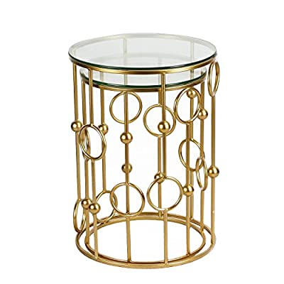 Patio Glass Side Table, Homebeez Metal Structure Outdoor End Table