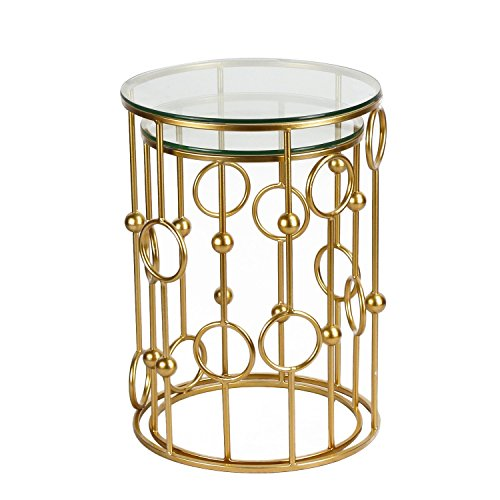 Homebeez Patio Glass Side Table, Metal Structure Outdoor End Table