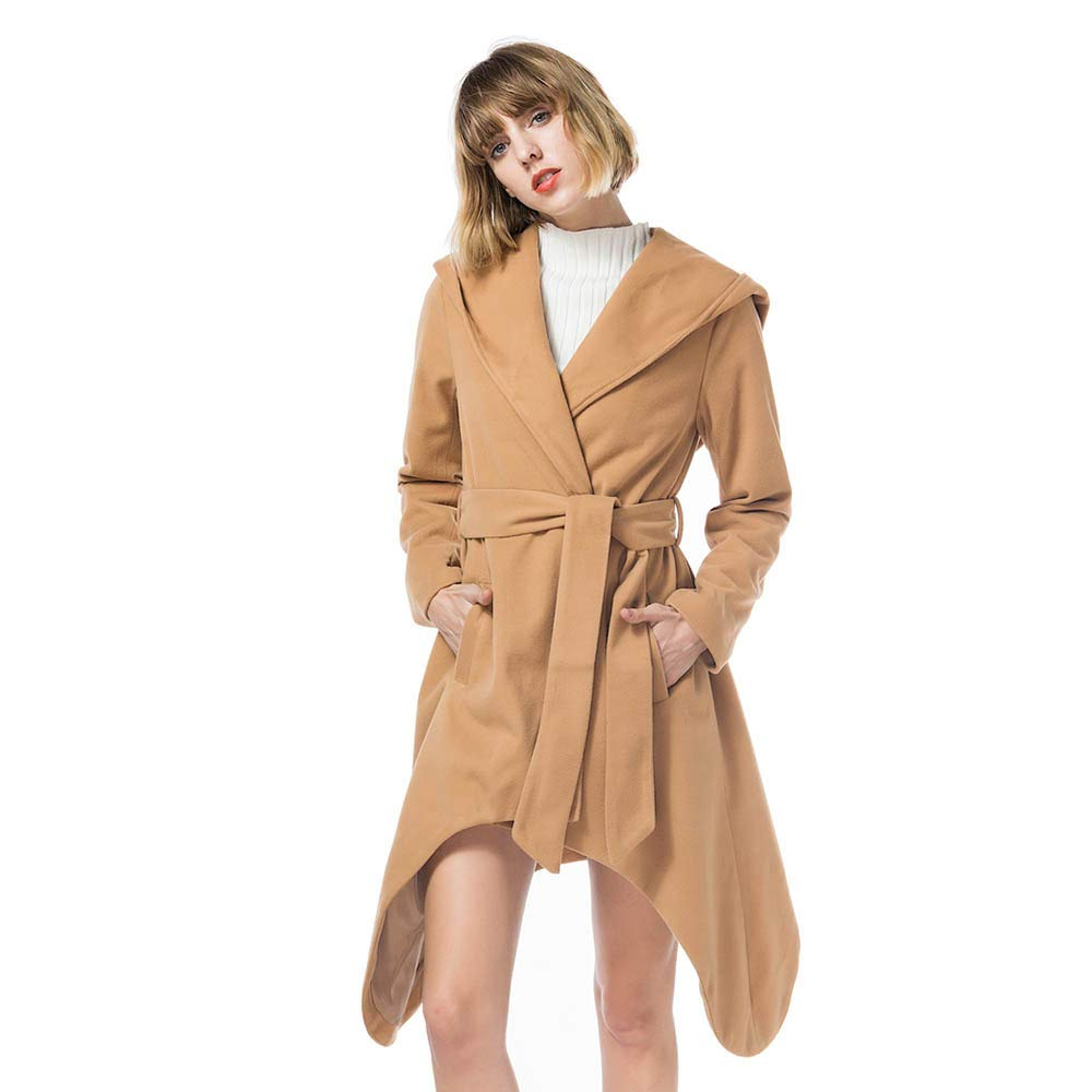 Caopixx Women Outwear Warm Winter Fashion Hooded Belt Long Section Jacket Overcoat Coat Cardigan Soft