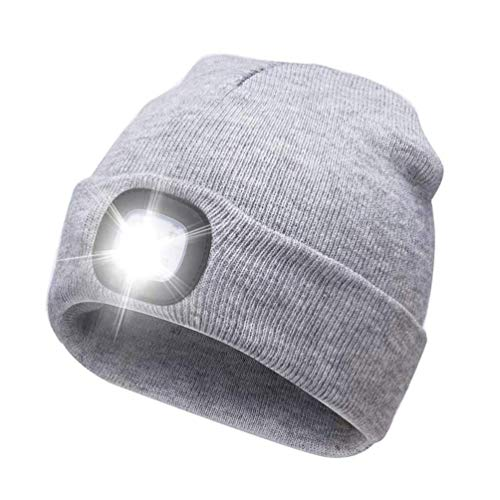 SnowCinda unisex 5 LED Knitted Flashlight Beanie Hat/cap for Hunting, Camping, Grilling, Auto Repair, Jogging, Walking, or Handyman Working - One Size Fits Most (USB-Doe)