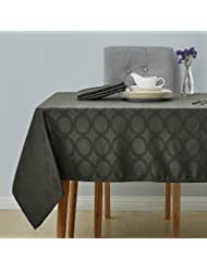 Deconovo Decorative Jacquard Tablecloth with Round Patterns Oblong Wrinkle Resistant and Waterproof Tablecloths for Kitchen 54 X 108 Inch Grey