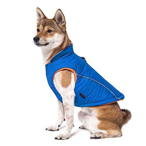 Gooby - Sports Vest, Fleece Lined Small Dog Cold Weather Jacket Coat Sweater with Reflective Lining, Blue, Medium
