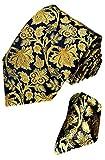 LORENZO CANA Floral Italian 100% Silk Woven Necktie Hanky Set Blue Gold 8421201