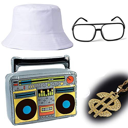 ZeroShop 80s/90s Hip Hop Costume Kit - Cotton Bucket Hat,Gold Chain Beads,Oversized Rectangular Hip Hop Nerdy Lens Sunglasses (OneSize, White4) -